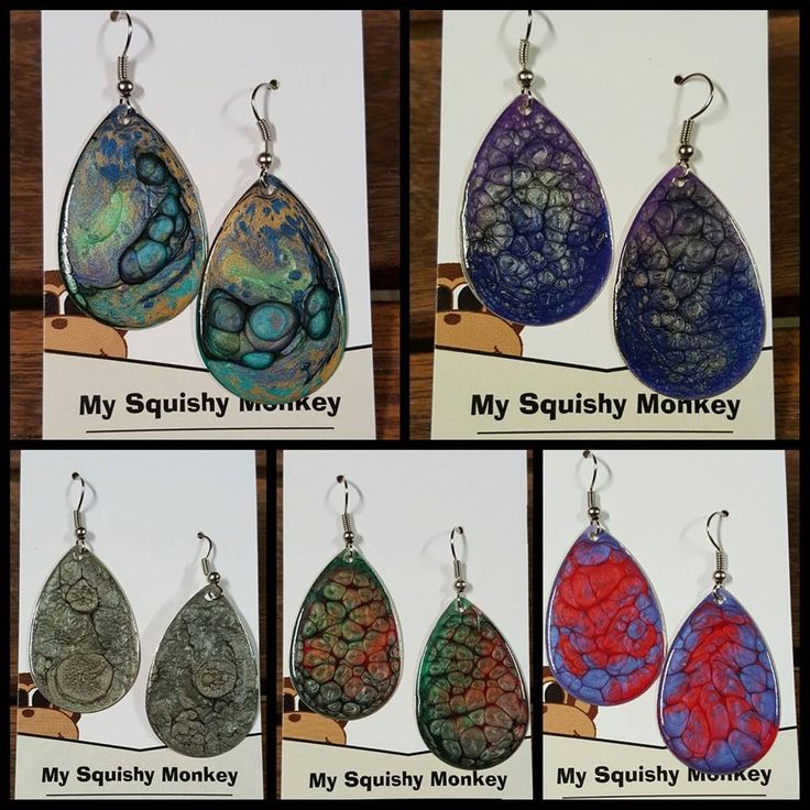 Handpainted by My Squishy Monkey Handpainted teardrop earrings