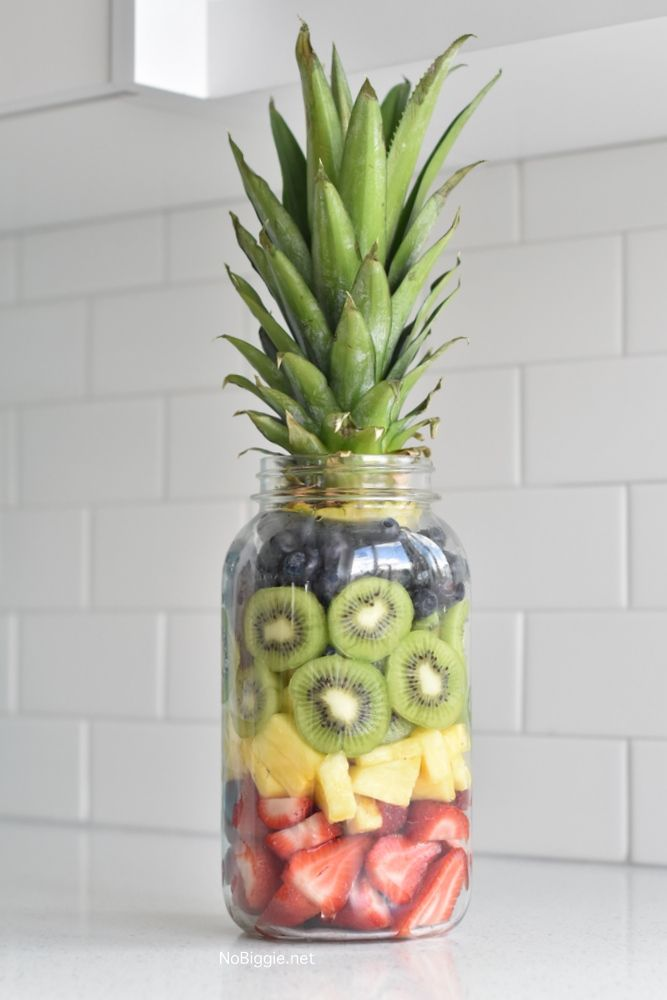 Pineapple Fruit Mason Jar - a fun way to serve up fresh fruit.