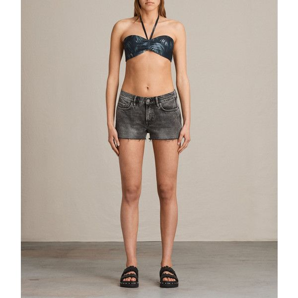 AllSaints Sofia Neluwa Bikini Top (£24) ❤ liked on Polyvore featuring swimwear, bikinis, bikini tops, black, ruffle bikini bottom, ruffled bikinis, bandeau top, ruched bikini bottom and scrunch bikini bottoms