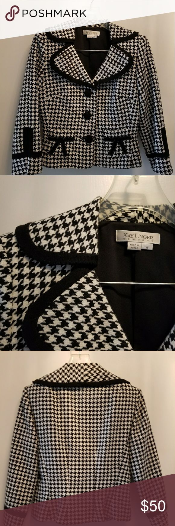 """Kay Unger suit Classic black and soft white houndstooth print.  Black skirt has a """"car wash"""" style hem. Kay Unger Jackets & Coats"""