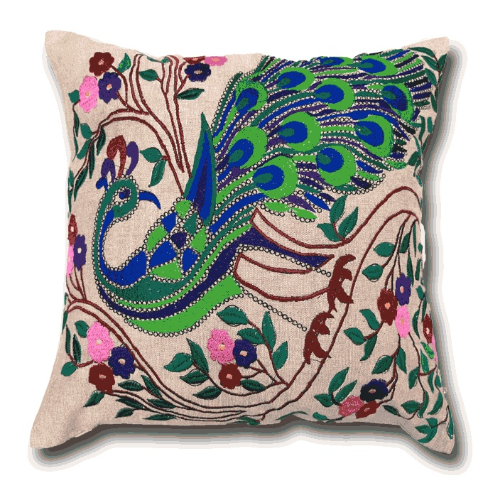 Peacock Embroidered Cushion - www.lotsofcushions.co.uk