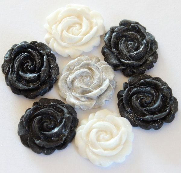 24 Fondant black, white and silver rose cupcake toppers-vintage, masquerade party, winter weddings, cupcake toppers, black and white roses by TheVintageVanilla on Etsy