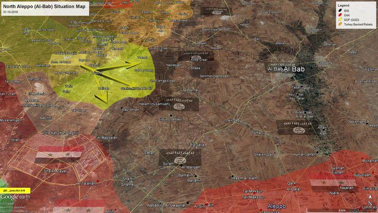 North #Aleppo (Al-Bab) Situation Map  31-10-2016 #Syria #Rebels & #Turkey vs #ISIS vs #SDF #EuphratesShield twitter.com/QSD00963/statu…