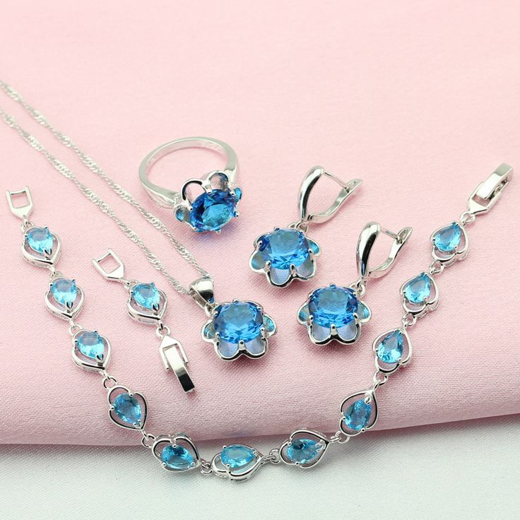 WPAITKYS Trendy Sky Blue Stone Silver Color Jewelry Sets For Women Choker Earrings Bracelet Pendant Necklace Ring Free Gift Box
