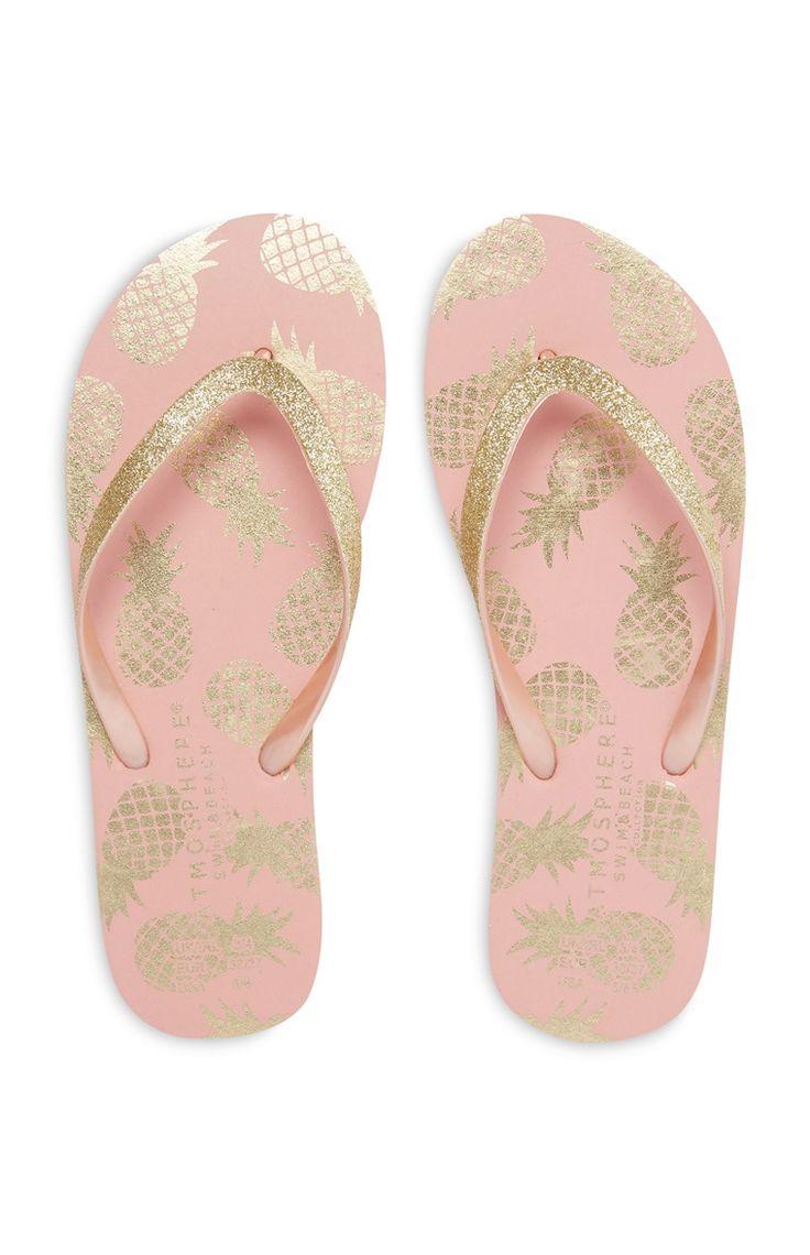 Primark - Chinelos de dedo com brilho rosa dourado