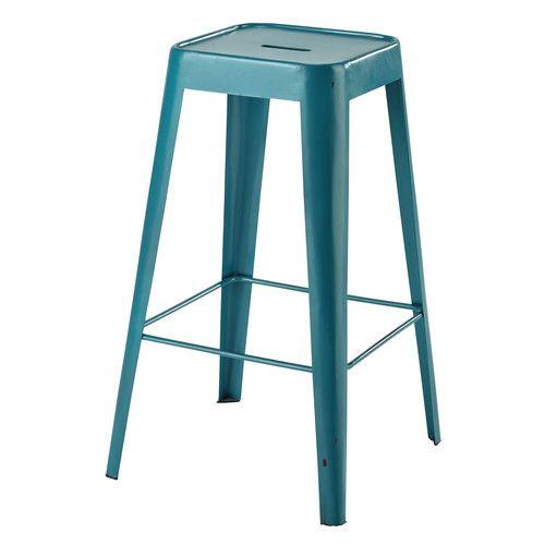 Tabouret de bar en métal turquoise
