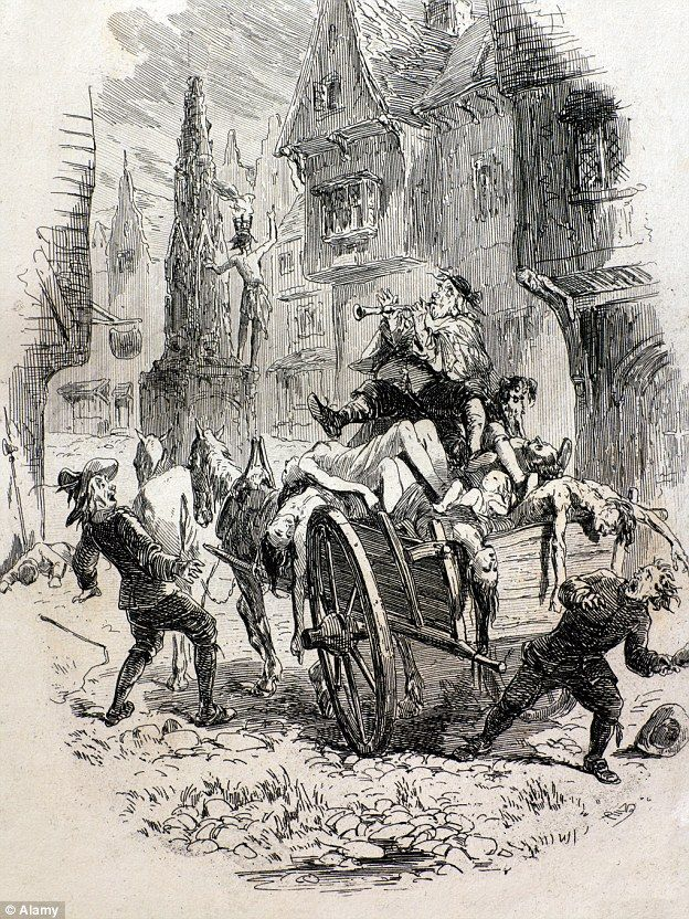 The plague drastically culled the European population during the 14th and 17th centuries. The drawing above shows plague victims being taken away on a cart in London, which became a common site in the 14th century
