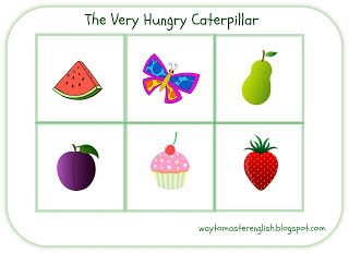 very hungry caterpillar, eric carle, bingo, game, food, prinatbles