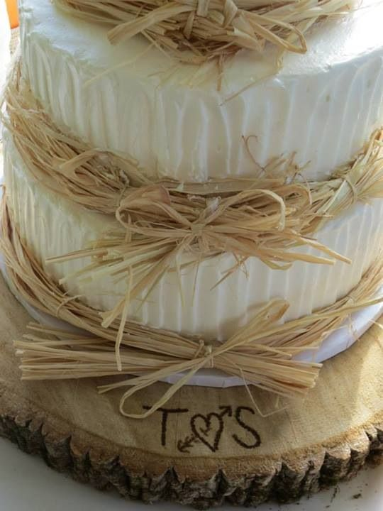 Simple country wedding cake and DIY cake wooden platter...I have a wood burner my boo got me a while back!