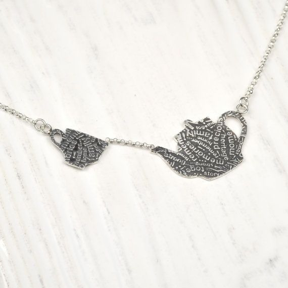 Tea Time Pendant, Teapot with Cup Pendant, Sterling Silver Teapot on Etsy, $110.00 CAD