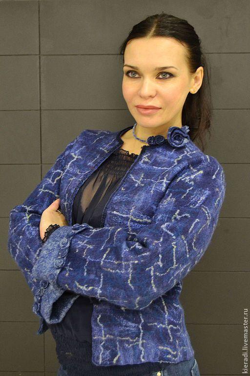"""Купить Жакет ручной работы """" в стиле Шанель"""" - тёмно-синий, ручная авторская работа"""