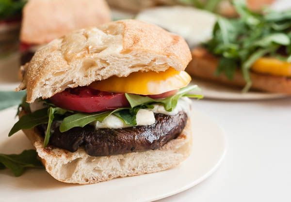 Grilled portabella burgers can be boring, but these definitely aren't! They're brushed with a red wine reduction and served on grilled focaccia bread.