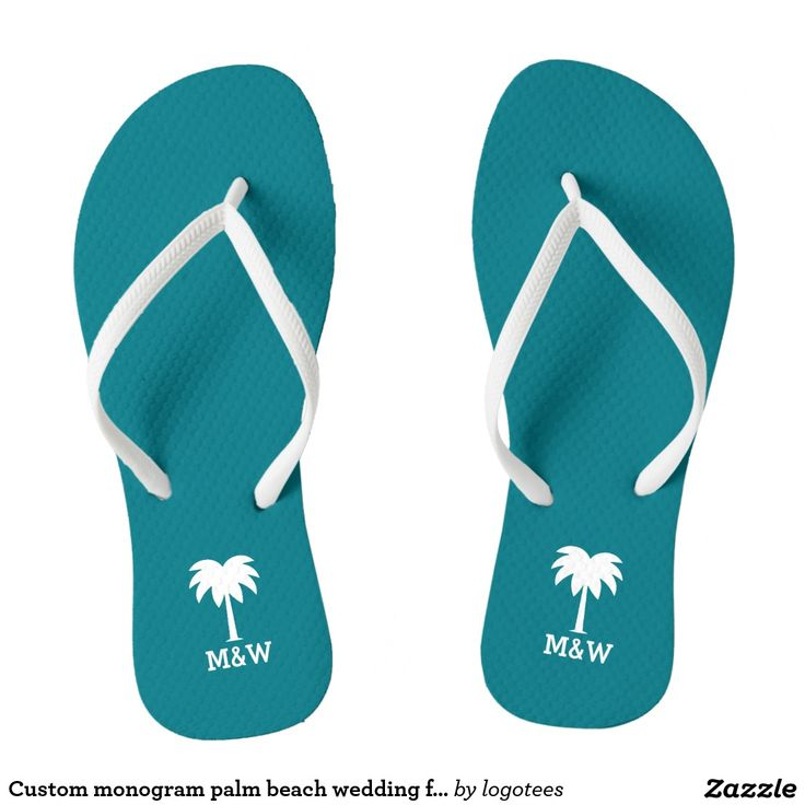 Custom monogram palm beach wedding flip flops