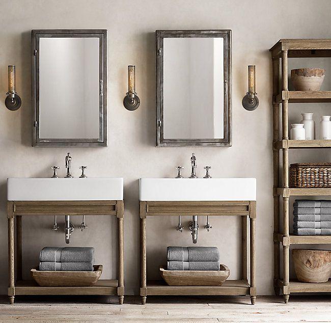 Rh S Weathered Oak Single Console, Weathered Oak Bathroom Vanity Mirror