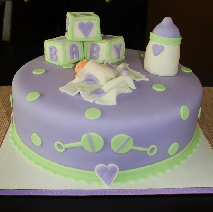 Unique Baby Shower Cakes | Creative Cakes by Lynn: Purple & Green Baby Shower Cake