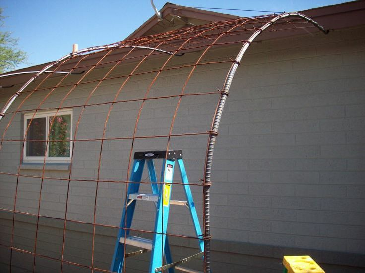 Rebar Trellis Designs   rebar and wire mesh instead of plastic lattice or wood. Will look ...