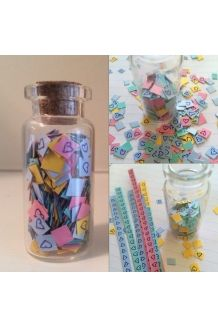 "$3 ""Hearts"" Confetti Bottle  #handmade#bottle#confetti#hearts#love#romantic#wishbottle#messageinabottle#cute#pretty#small#cheap#diy#present#gift#idea#presentidea#giftidea"
