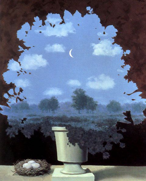René Magritte (Belgian, 1898-1967), Le pays des miracles [The land of miracles], 1964. Oil on canvas, 55 x 46 cm. Private collection.