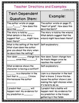 TEXT DEPENDENT QUESTION STEMS! CLOSE READING, LITERATURE CIRCLES AND MORE! CCSS! - TeachersPayTeachers.com