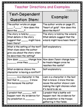 TEXT DEPENDENT QUESTION STEMS! CLOSE READING, LITERATURE CIRCLES AND MORE! CCSS! - TeachersPayTeachers.com