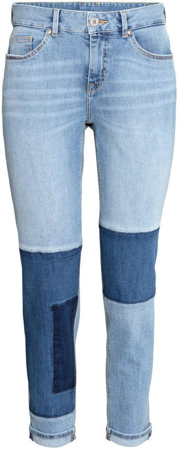 H&M - Boyfriend Patchwork Jeans - Light denim blue - Ladies