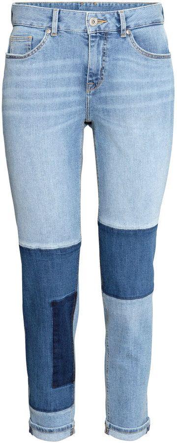 H&M - Boyfriend Patchwork Jeans - Light denim blue - Ladies