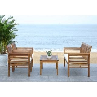 Safavieh Carson Acacia Wood 4-piece Outdoor Furniture Set | Overstock.com Shopping - The Best Deals on Sofas, Chairs & Sectionals