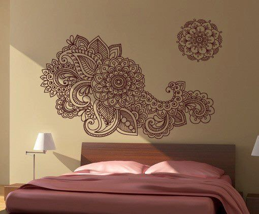 Henna Wall Sticker - Indian Artwork - Home Decor by homeartstickers on Etsy https://www.etsy.com/listing/213542467/henna-wall-sticker-indian-artwork-home