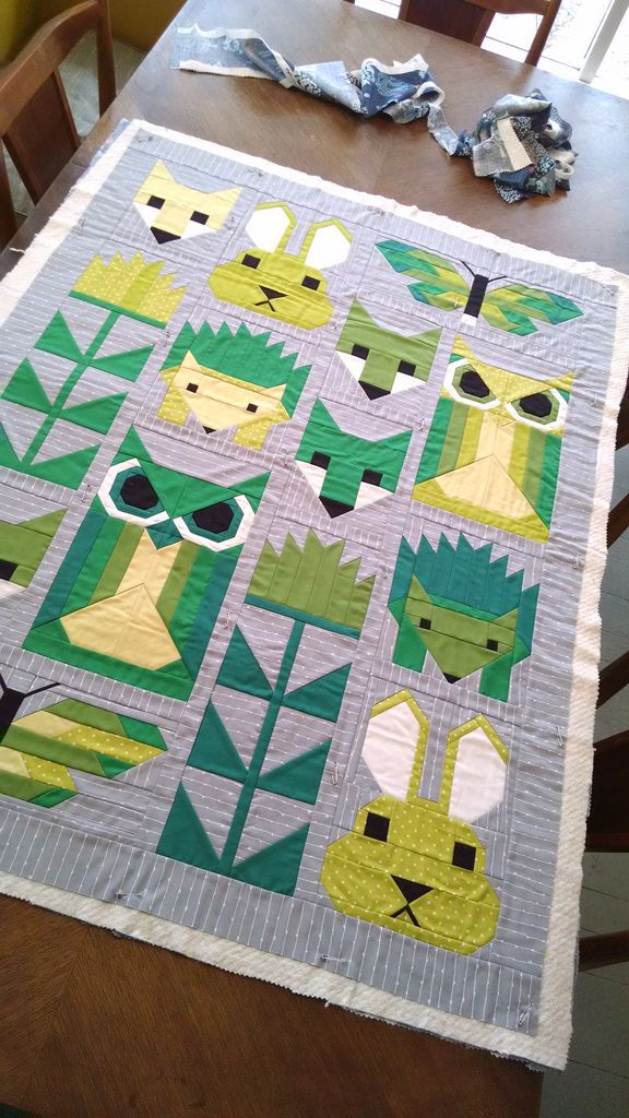 Elizabeth Hartman Fancy Forest Baby Quilt. Sunshine Fuzzy Bunny.