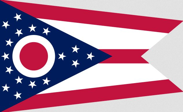 """Illustration: Ohio state flag. Credit: Wikimedia Commons. Read more on the GenealogyBank blog: """"Ohio Archives: 239 Newspapers for Genealogy Research"""" https://blog.genealogybank.com/ohio-archives-239-newspapers-for-genealogy-research.html"""