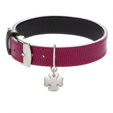 Large simple leather bracelet, two-side fuchsia/grey, with a silver cloverleaf  #lilou #clover #silver #leather #bracelet