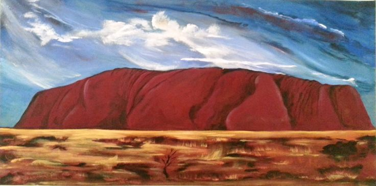 Depicting one of the many moods of Ayers Rock. Forever changing...Forever beautiful...  Original Acrylic painting on canvas.