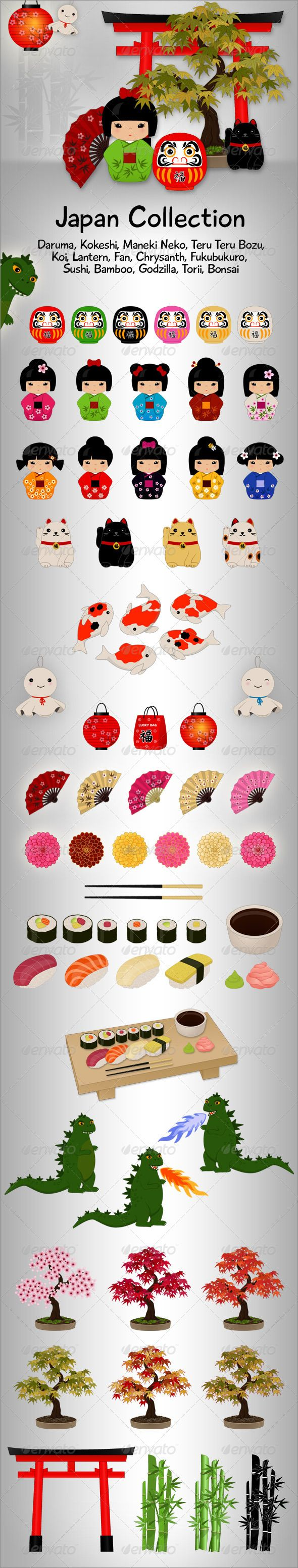 Japan Collection  #GraphicRiver         This Japan Collection contain vector graphics:  	 - Daruma - Kokeshi - Maneki Neko - Teru Teru Bozu - Koi - Lantern - Fan - Chrysanth - Fukubukuro (Lucky Bag) - Sushi - Bamboo - Godzilla - Torii - Bonsai   	 Included in ZIP file:  	 - 1 AI, 3 EPS parts     Created: 4March13 GraphicsFilesIncluded: VectorEPS #AIIllustrator Layered: Yes MinimumAdobeCSVersion: CS Tags: Fukubukuro #LuckyBag #LuckySymbol #bamboo #bonsai #cat #chrysanth #daruma #doll #fan…
