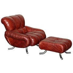Leather Chair  Ottoman Made In Italy