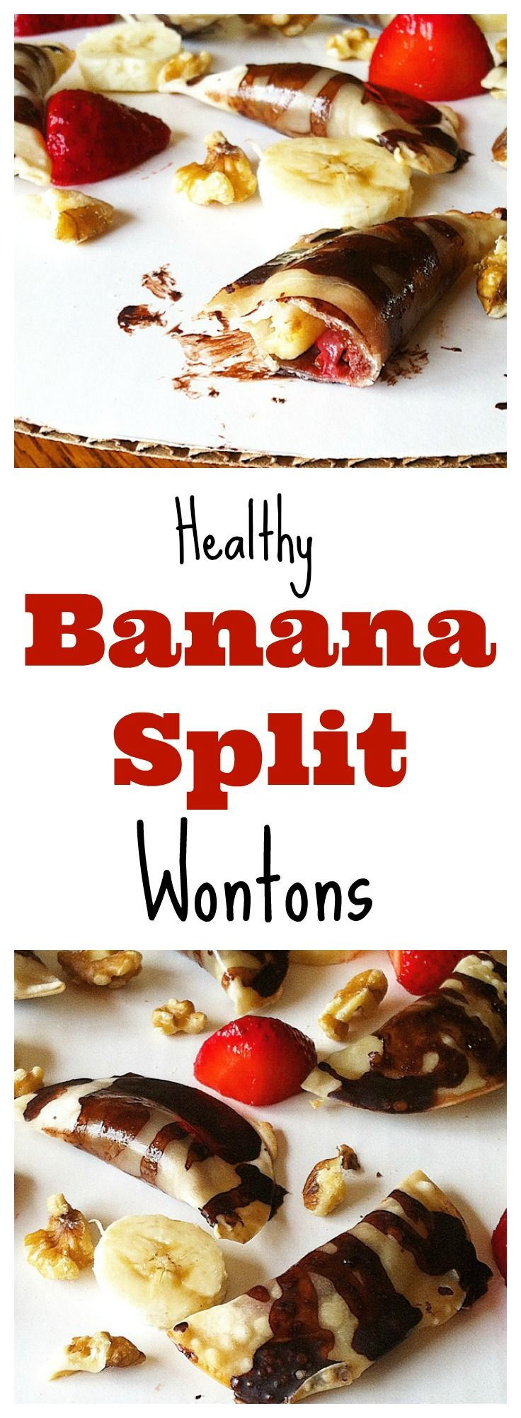 These #healthy Banana Split Wontons are the perfect kid friendly dessert or snack! #vegan #glutenfree