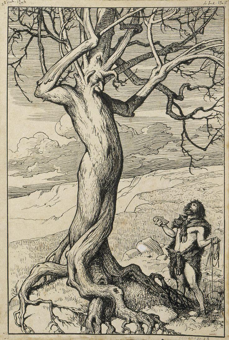 La destral. Il·lustració per al poema «Liliana» d'Apel·les Mestres | Museu Nacional d'Art de Catalunya