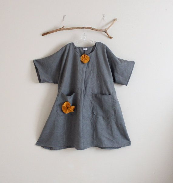 plus size gray linen dress with autumn gold flower and hand stitches by annyschooecoclothing