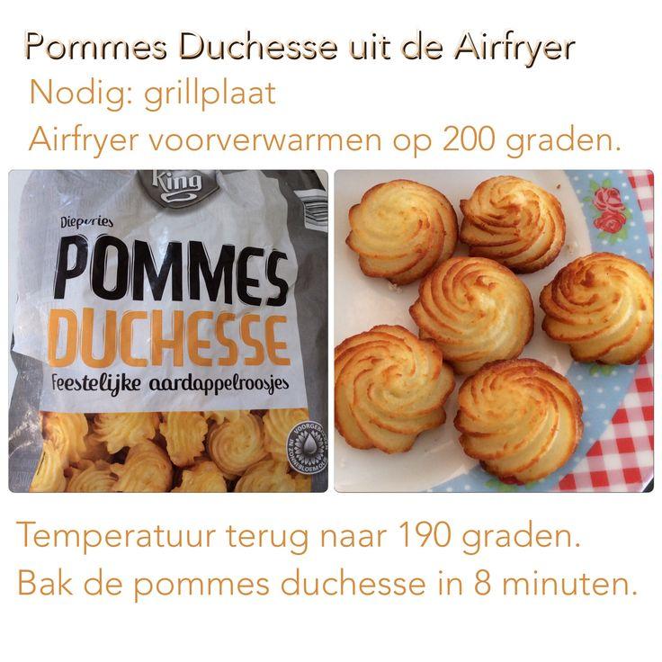Pommes Duchesse (van Aldi) uit de Airfryer. 8 minuten op 190 graden. AK