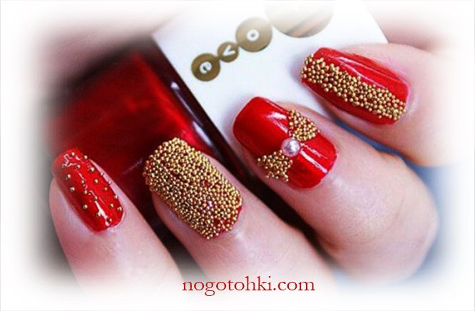 дизайн ногтей красный с золотом фото 5