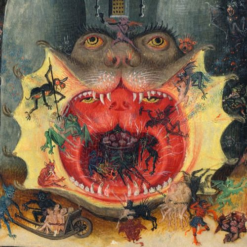hell mouth Hours of Catherine of Cleves, Netherlands ca. 1440 NY, Morgan Library and Museum, MS M.945, fol. 168v