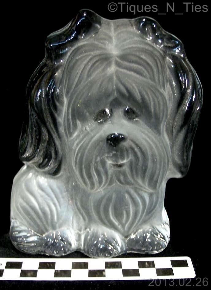 Viking Glass Satin Frosted Crystal Art Glass Shih Tzu