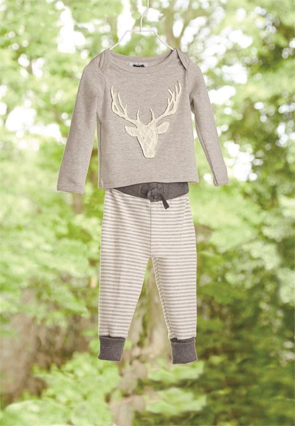 Mud Pie Stag Two Piece Set | Cute Woodland Theme Baby Clothes for Boys at Sugar Babies Boutique!