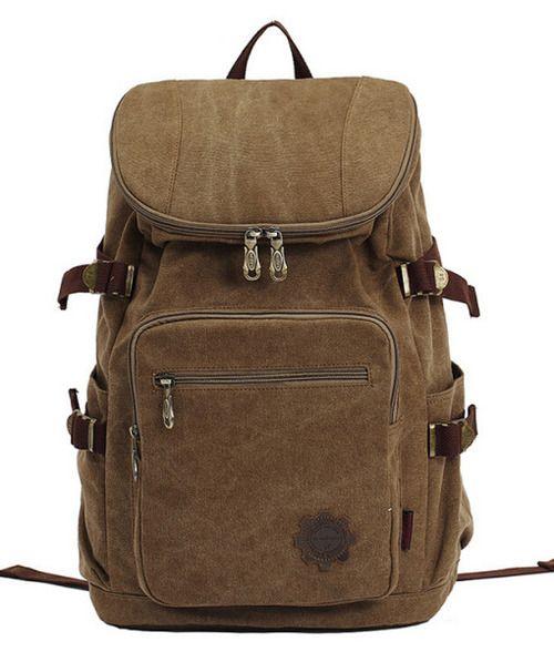 Canvas Backpack with Leather Brown Zipper Canvas Backpack | Genuine Leather Canvas Bag Wholesale @ http://www.trendfolder.com/ #canvas rucksack, #canvas shoulder bag back to school bag