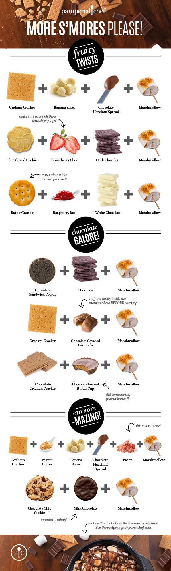 Here's some mouthwatering s'more combinations that go above the original recipe and make you a happy camper all year long. Indoor campers tip: use the stovetop, microwave, or broiler in place of a fire pit.