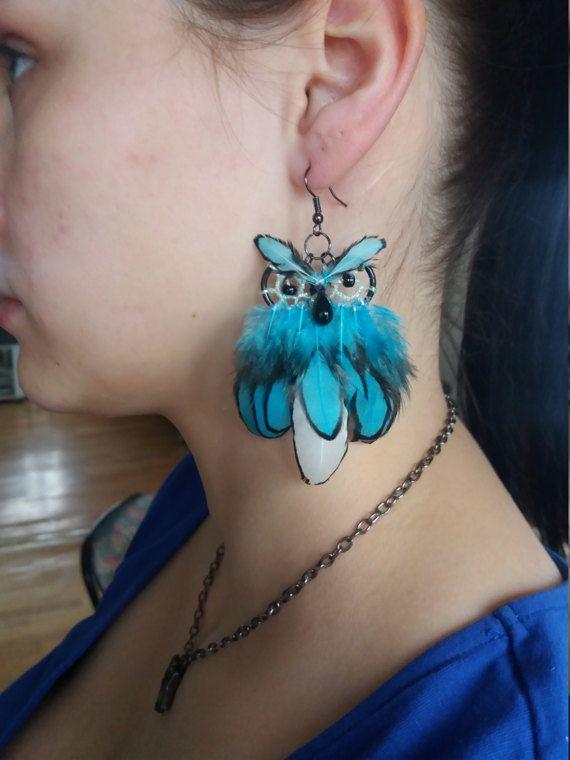 Owl dream catcher earrings Dream earrings by DreamyFlowerWonder