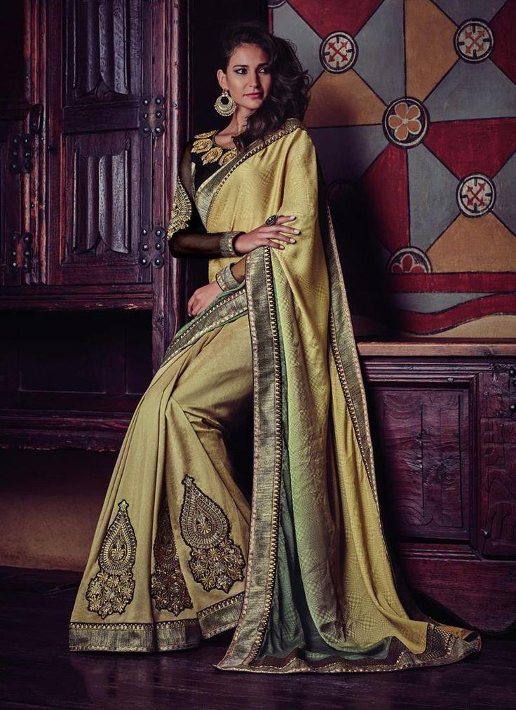 Marvelous Jacquard Silk Patch Border Work Designer Half N Half saree