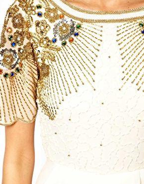 Virgos Lounge Nicola Wrap Midi Dress with Embellished Shoulders    ASOS