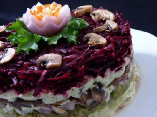 Raw Food Recipe: Russian-Style Layered Mushroom Salad