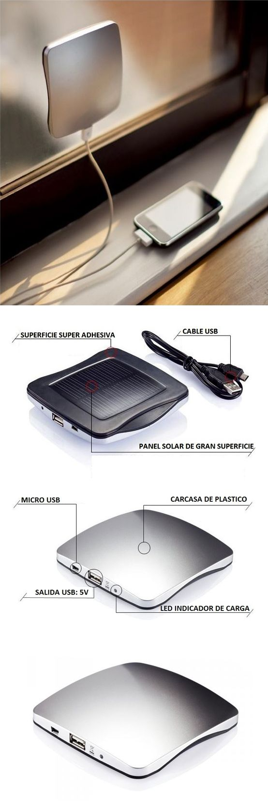 Cargador de energía #solar para tu teléfono #movil o cualquier otro dispositivo USB. Qué os parece? - Solar charger for your #smartphone or any USB device.  #Regalos #Frikis #Renovable #Geek #Gifts