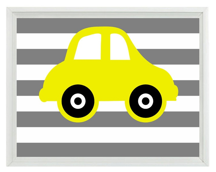 Car Art Print - Transportation Nursery Boy Room - Yellow Gray Stripes - Automobile Retro Wall Art Home Decor 8x10 Print. $15.00, via Etsy.